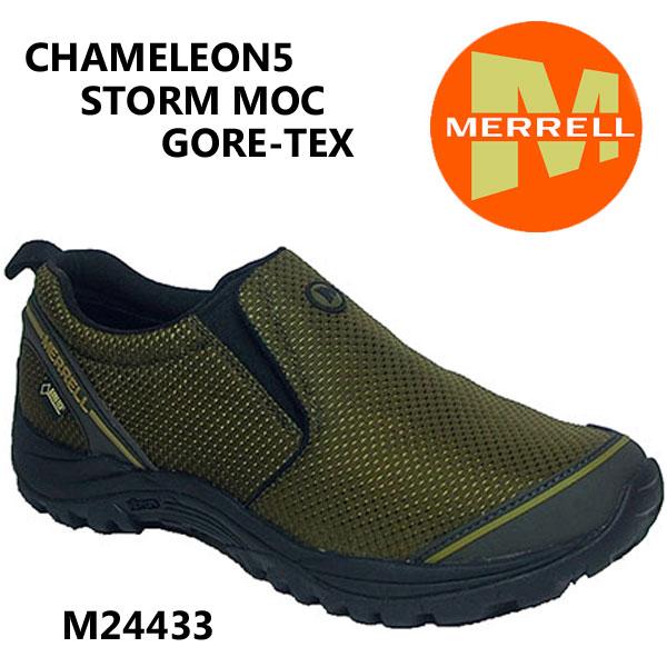 メレル  カメレオン5 ストームモック ゴアテックス M24433 Olive  Merrell CHAMELEON5 STORM MOC GORE-TEX  メンズ アウトドア ゴアテックス スニーカー  防水
