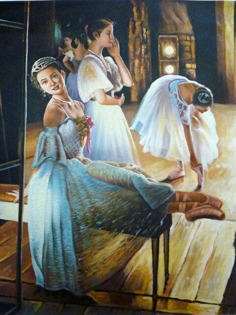【送料無料】技法が選べるオーダーメイド油絵 人物四人 額縁付き 絵画サイズ: 50 x 75cm