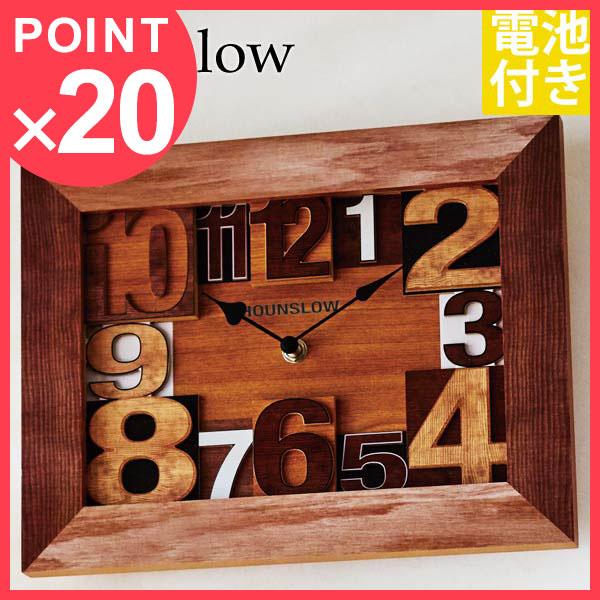掛け時計 壁掛け時計 置き時計 北欧 時計 壁掛け 木製 おしゃれ アンティーク アメリカン 四角 レトロ モダン 置時計 アナログ インテリア 置き掛け両用 ウォールクロック デスククロック テーブルクロック 卓上 卓上時計 CL-9905 Hounslow ウォールクロック【hzs】
