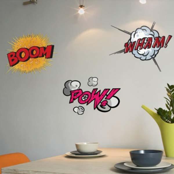 壁 ステッカー 漫画 3個セット ウォール おしゃれ WallStickers 壁面装飾 Comic Book POW!・WHAM!・BOOM