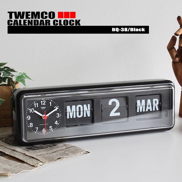 置き時計 掛け時計 カレンダー時計 TWEMCO トゥエンコ BQ-38 パタパタ時計 デジタルカレンダークロック おしゃれ ミッドセンチュリー インテリア雑貨 送料無料