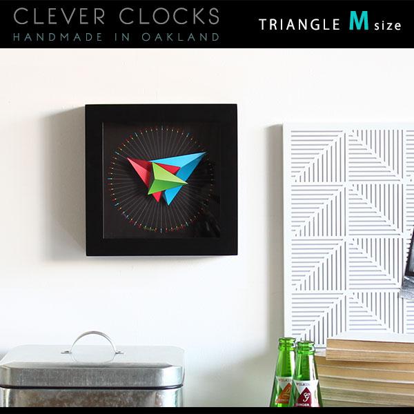掛時計 壁掛け時計 置き時計 壁時計 置き 置時計 おしゃれ アナログ時計 音がしない デザイナーズ掛時計 静か 時計 リビング 寝室 連続秒針 スイープ 北欧 木製 アート 掛け時計 送料無料 128199 Clever Clocks トライアングル M