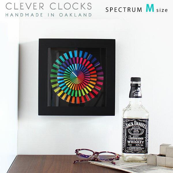 置時計 おしゃれ モダン アート アナログ 北欧 スイープムーブメント 置き時計 時計 壁掛け 置き デザイン時計 掛け時計 壁時計 壁掛け時計 スタンド付属 置き掛け両用 掛時計 インテリア ウォールクロック 卓上時計 送料無料 128196 Clever Clocks スペクトラム M