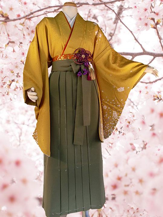 桜ちらし-イエロー[きー6A] 着物単品 AROVEINA(アロヴィーナ) 卒業式 成人式 女性用 レンタル !