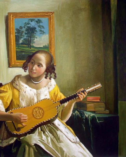 油絵  フェルメールの名作「ギターを弾く女」