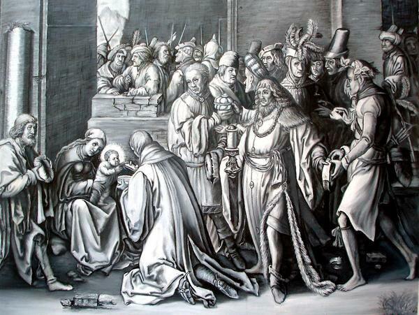 油絵  ルーカス・ライデンの名作「東方三博士の礼拝」