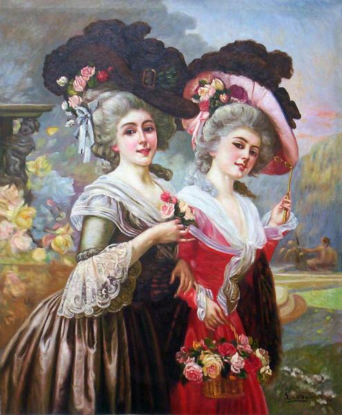 特価油絵 Cristobal Antonioの名作「婦人とバラのバスケット」