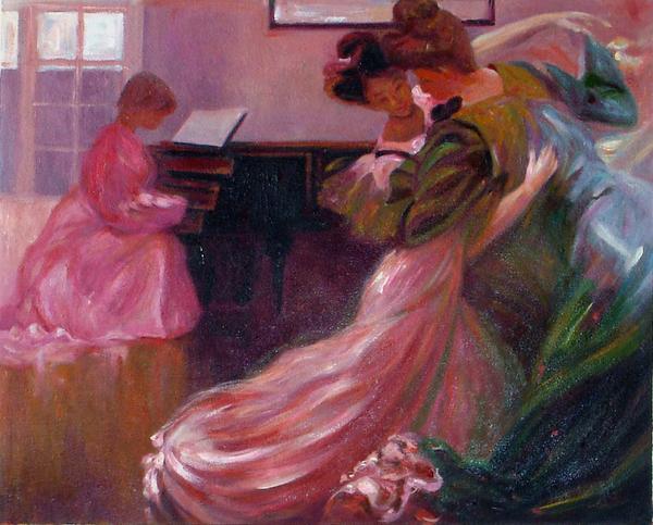 油絵 Marius Josephの名作「ダンス・レッスン」