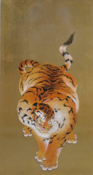 センス抜群 漆絵 亀岡規礼の名作「猛虎図」