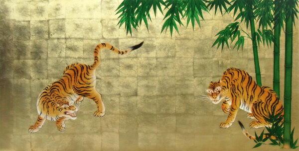 品揃え充実 漆絵 狩野探幽の名作「竹虎図」