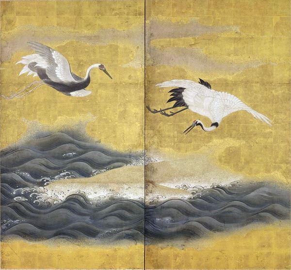 熱い販売で 漆絵 白鶴図
