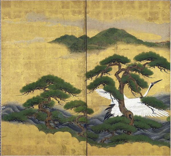 高い 漆絵 白鶴と松図