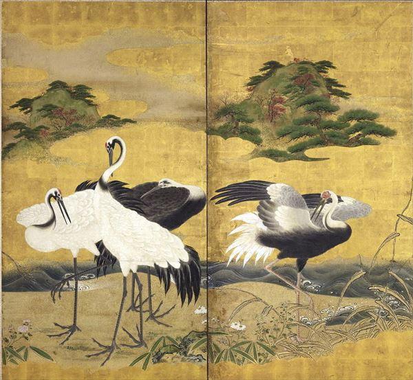 圧倒的な品質 漆絵 白鶴と松図