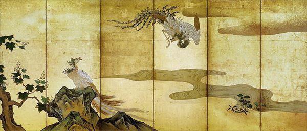 たくさん資源 漆絵 狩野探幽の名作_鳳凰図・左隻