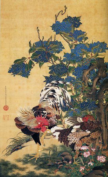 販売中 漆絵 伊藤若冲の名作_紫陽花双鶏図