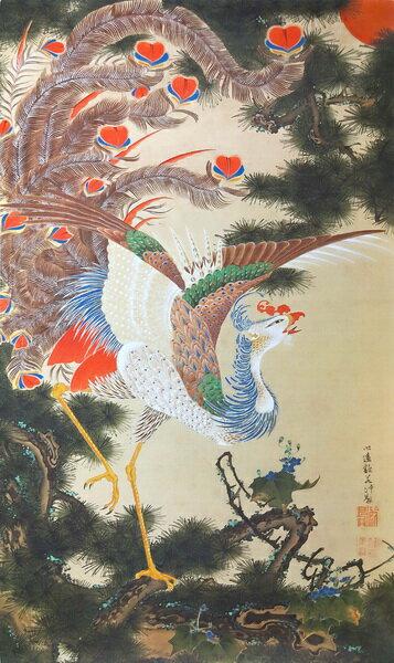 直営店 漆絵 伊藤若冲の名作_孔雀鳳凰図の内鳳凰図