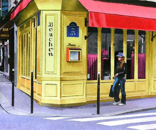 【送料無料/絵画・版画】【中古】日下部和俊(Kazutoshi Kusakabe) 街角のレストラン本人 ペン サイン