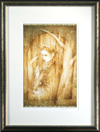 【送料無料/絵画・版画】【中古】きたのじゅんこ(Junko Kitano) 金色の森の少女本人 鉛筆 サイン