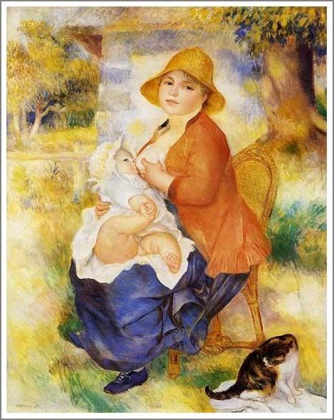 【送料無料】絵画:ルノアール(ルノワール)「授乳する母親」●サイズF6(41.0×31.8cm)●プレゼント・ギフト・風水にも人気な名画の絵画(油絵複製画)オーダーメイド制作◆無料で選べる額縁付き!◆:油彩画