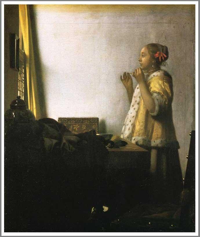 【送料無料】絵画:ヨハネス・フェルメール「真珠の首飾りの女」●サイズF15(65.2×53.0cm)●プレゼント・ギフト・風水にも人気な名画の絵画(油絵複製画)オーダーメイド制作◆無料で選べる額縁付き!◆:油彩画