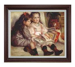 ルノワール ふたりの子供の肖像  F12 【油絵 直筆仕上げ 複製画】【油彩 国内生産 アクリル付】絵画 販売 12号 人物画 ブラウン額縁 757×656mm 送料無料