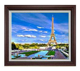 パリ、エッフェル塔 -彩- F12サイズ 【油絵 直筆仕上げ】【額縁付】 油彩 風景画 オリジナルインテリア絵画 風水画 ブラウン額縁 757×656mm 送料無料
