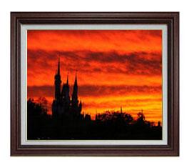 castle of sunset F12サイズ 【油絵 直筆仕上げ】【額縁付】 油彩 風景画 オリジナルインテリア絵画 風水画 ブラウン額縁 757×656mm 送料無料
