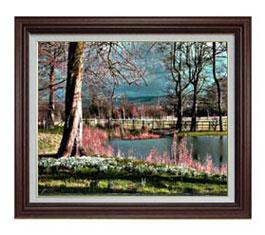 樹木と湖畔 F12サイズ 【油絵 直筆仕上げ】【額縁付】 油彩 風景画 オリジナルインテリア絵画 風水画 ブラウン額縁 757×656mm 送料無料