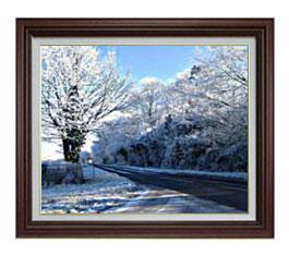 冬の樹木 F12サイズ 【油絵 直筆仕上げ】【額縁付】 油彩 風景画 オリジナルインテリア絵画 風水画 ブラウン額縁 757×656mm 送料無料