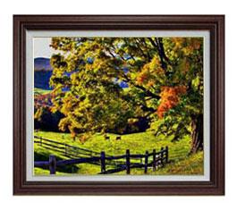 秋のはじまり F12サイズ 【油絵 直筆仕上げ】【額縁付】 油彩 風景画 オリジナルインテリア絵画 風水画 ブラウン額縁 757×656mm 送料無料