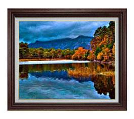 初秋の湖 F12サイズ 【油絵 直筆仕上げ】【額縁付】 油彩 風景画 オリジナルインテリア絵画 風水画 ブラウン額縁 757×656mm 送料無料