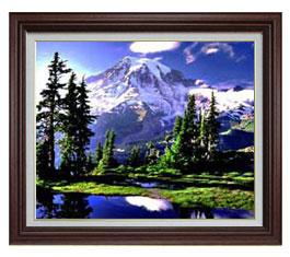 山麓と湖 F15サイズ 【油絵 直筆仕上げ】【額縁付】 油彩 風景画 オリジナルインテリア絵画 風水画 ブラウン額縁 812×690mm 送料無料
