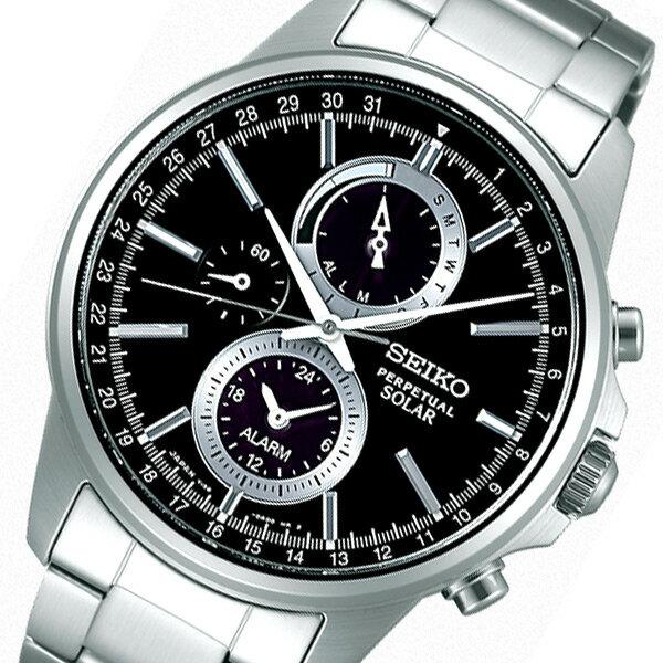 セイコー スピリット ソーラー メンズ クロノ 腕時計 SBPJ005 ブラック 国内正規