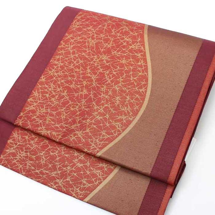 【送料無料】 西陣織 正絹 名古屋帯≪臙脂曲線≫六通柄お仕立上り おび きもの 着物