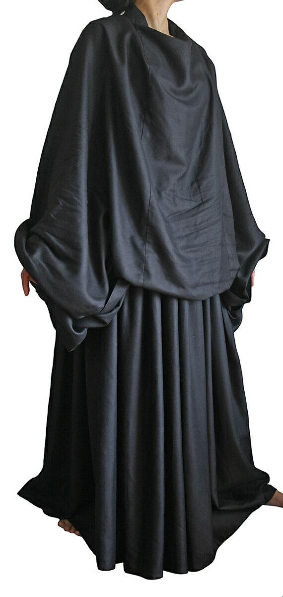 レーヨンのチャドル風ドレス(黒)