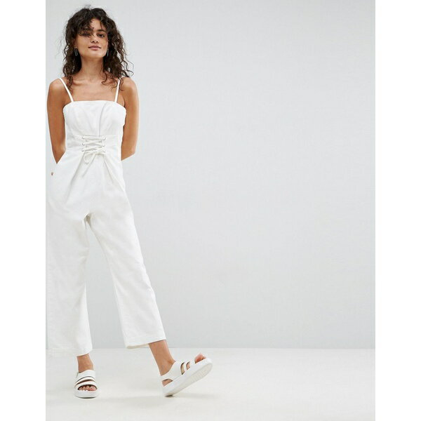 エイソス レディース ワンピース トップス ASOS Denim Jumpsuit With Corset Detail in Off White White