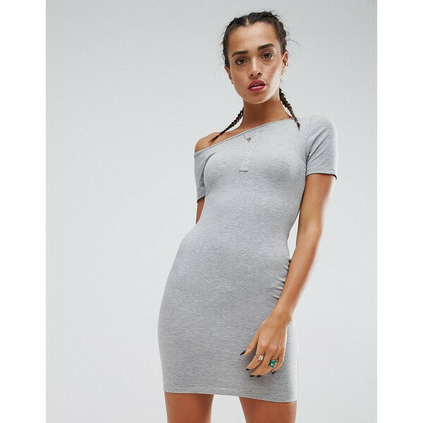 エイソス レディース ワンピース トップス ASOS Mini Popper Placket One Shoulder Bodycon Dress Grey marl