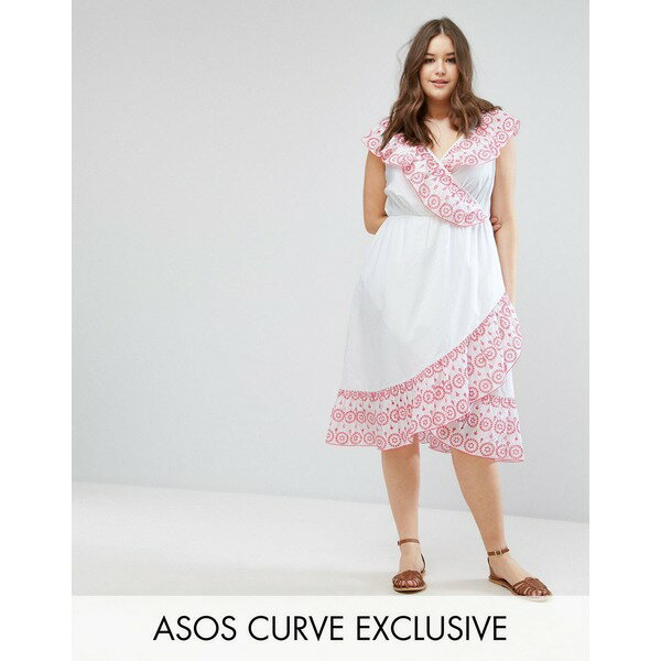 エイソス レディース ワンピース トップス ASOS CURVE Broiderie Skater Dress with Cold Shoulder White
