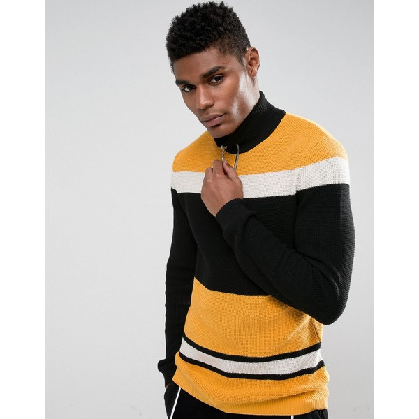 エイソス メンズ カーディガン アウター ASOS Textured Half Zip Jumper In Black And Yellow Black