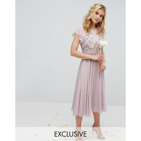 マヤ レディース ワンピース トップス Maya Midi Dress with Lace Embellishment and Circle Skirt In Chiffon Lilac