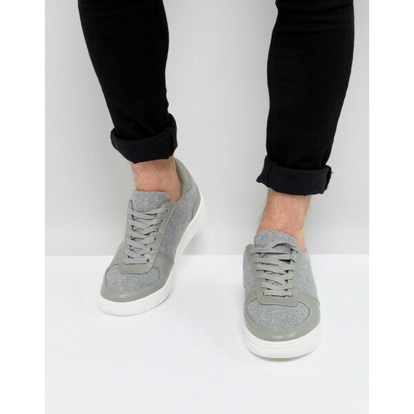エイソス メンズ スニーカー シューズ ASOS Trainers In Grey Warm Handle With Chunky Sole Grey
