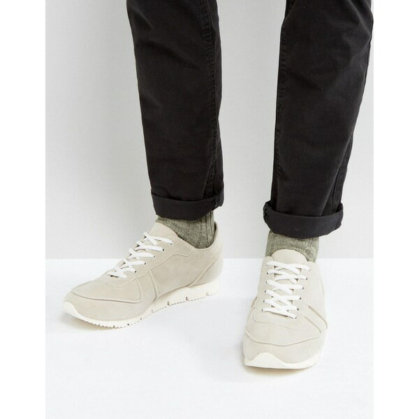 エイソス メンズ スニーカー シューズ ASOS Retro Trainers In Relaxed Off White Faux Suede White