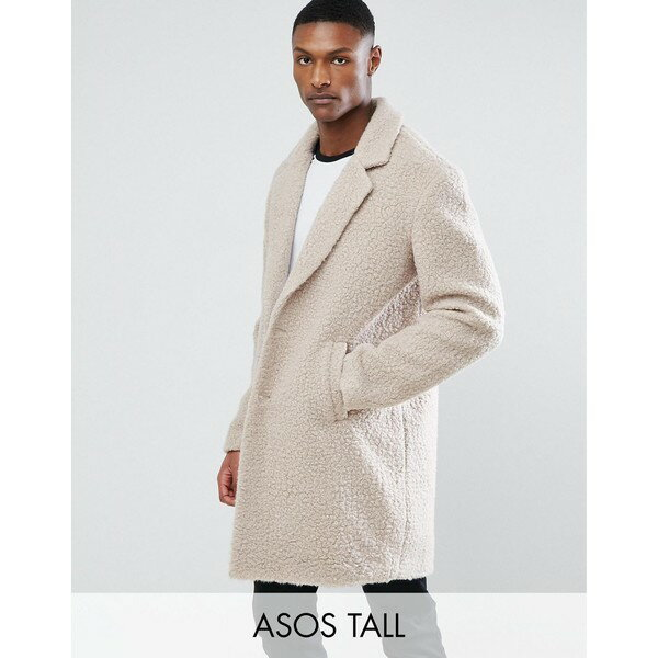 エイソス メンズ コート アウター ASOS TALL Relaxed Borg Overcoat in Ecru Ecru
