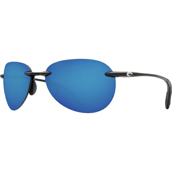 コスタ メンズ サングラス・アイウェア アクセサリー Costa West Bay Polarized Sunglasses - Mirrored 580 Polycarbonate Lens Shiny Black Blue Mirror 580p