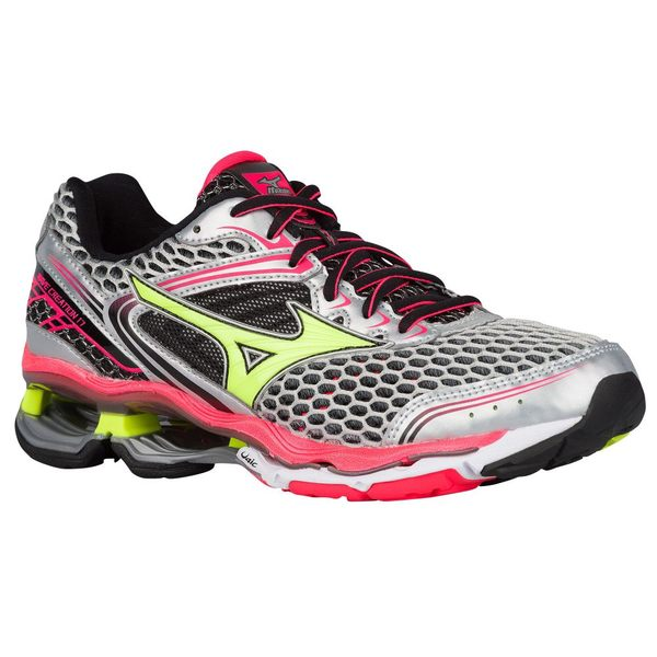 ミズノ レディース スニーカー シューズ Women's Mizuno Wave Creation 17 Silver/Safety Yellow/Diva Pink