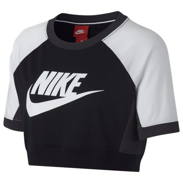 ナイキ レディース Tシャツ トップス Women's Nike Colorblocked Crop Short Sleeve Top Black/White/Anthracite