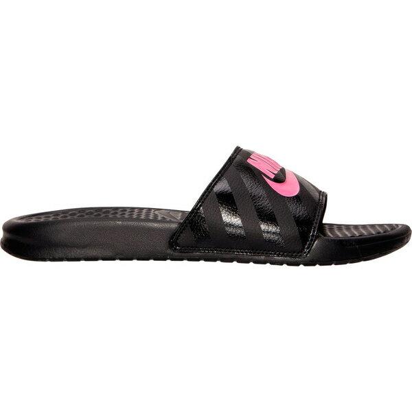 ナイキ レディース スニーカー シューズ Women's Nike Benassi JDI Swoosh Slide Sandals Black/Vivid Pink