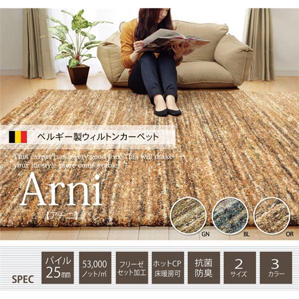 今季新作が入荷 ベルギー製 ウィルトン織り カーペット 絨毯 『アーニ RUG』 グリーン 約200×250cm