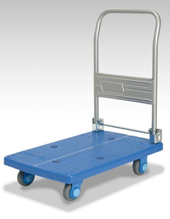 カナツー <静音シリーズ> ハンドル折りたたみ式台車 PLA200M1-DX ブルー 200kgまで 静音キャスター