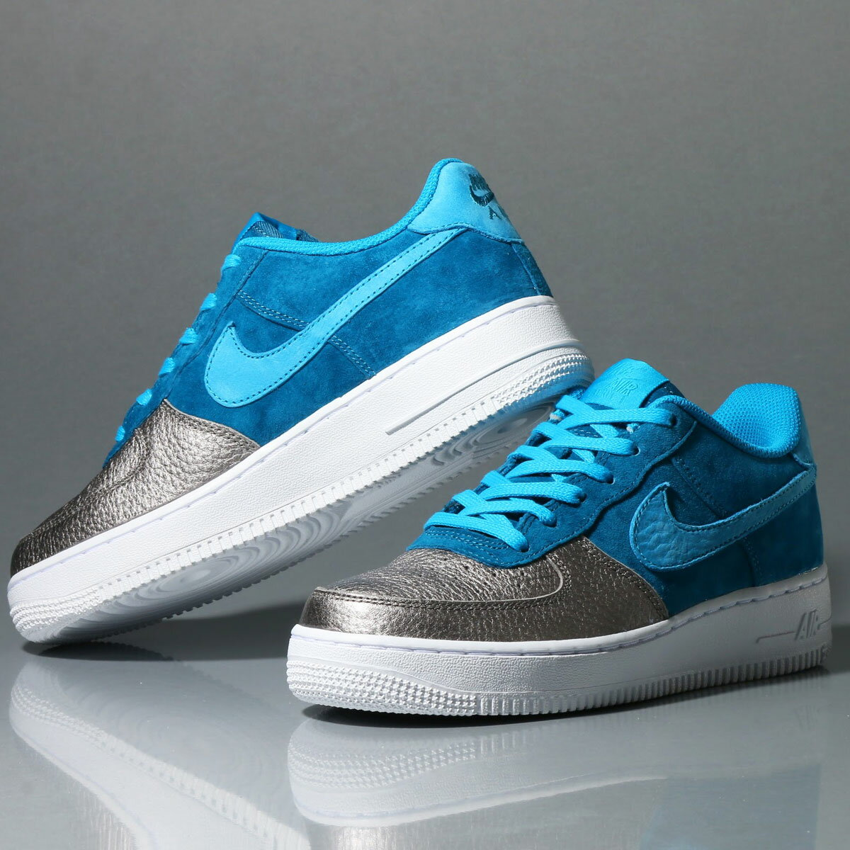 NIKE AIR FORCE 1 QS (GS) (ナイキ エア フォース 1 QS GS) GREEN ABYSS/LIGHT BLUE LACQUER/METALLIC PEWTER/WHITE【レディース スニーカー】17HO-S